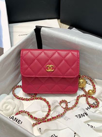 CC original lambskin small wallet on chain AP1465 rose red