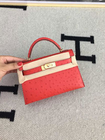 Hermes handmade genuine 100% ostrich leather kelly 19 bag K019 red