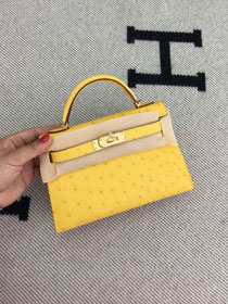 Hermes handmade genuine 100% ostrich leather kelly 19 bag K019 yellow