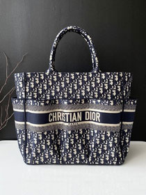 Dior original canvas large book tote oblique bag M1290 dark blue