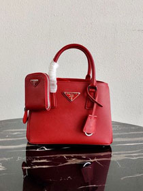 Prada original saffiano leather galleria micro bag 1BA296 red