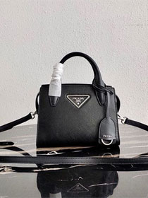 Prada original saffiano leather small monochrome bag 1BA269 black