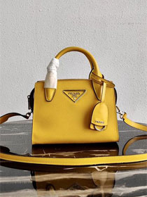 Prada original saffiano leather small monochrome bag 1BA269 yellow