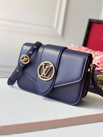 2020 louis vuitton original calfskin pont 9 bag M55946 navy blue