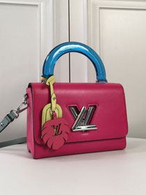 Louis vuitton original epi leather twist mm M56131 rose red