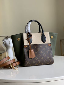 2020 Louis vuitton original monogram canvas&calfskin fold tote bag pm M45388 beige&green