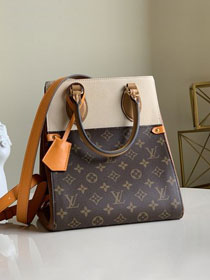 2020 Louis vuitton original monogram canvas&calfskin fold tote bag mm M45376 beige&caramel