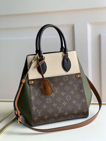 2020 Louis vuitton original monogram canvas&calfskin fold tote bag mm M45376 beige&green