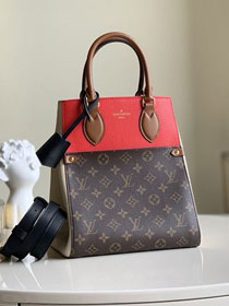 2020 Louis vuitton original monogram canvas&calfskin fold tote bag mm M45409 beige&red