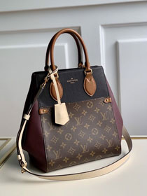 2020 Louis vuitton original monogram canvas&calfskin fold tote bag mm M45409 burgundy&black