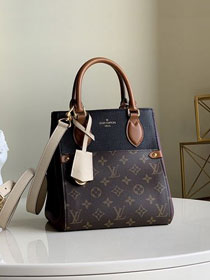 2020 Louis vuitton original monogram canvas&calfskin fold tote bag pm M45389 burgundy&black