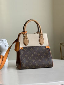 2020 Louis vuitton original monogram canvas&calfskin fold tote bag pm M45389 beige&caramel