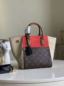 2020 Louis vuitton original monogram canvas&calfskin fold tote bag pm M45389 beige&red