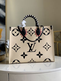 2020 Louis vuitton original monogram giant calfskin onthego gm m45372 beige